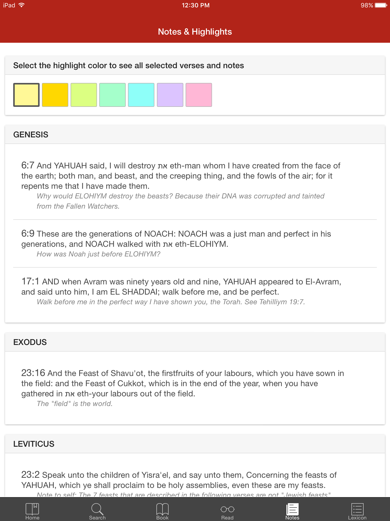 Eth CEPHER Mobile App: Color Categorization of Notes